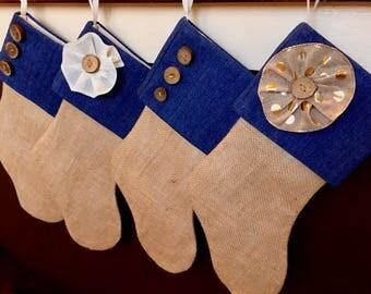 4 Denim Burlap Stockings - WITH Name Tag - Flower and Button Brown Burlap Stocking - Blue Burlap Stocking - Personalized Burlap Stocking