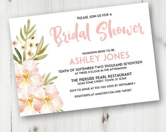 Pink Watercolor Flower Wedding Shower Invitation, Pink Watercolor Floral Bridal Shower Invitation, Instant Download
