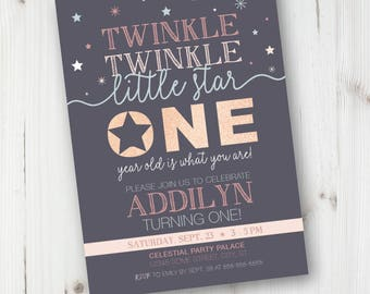 Twinkle Twinkle First Birthday Invitation, Twinkle Twinkle Birthday Invitation, Twinkle Twinkle Little Star, Personalized, DIY Invite