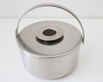 Danish modernist stainless steel ice bucket with rosewood effect disc. In original box