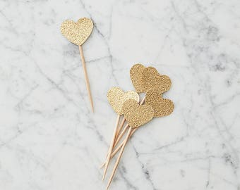 Heart Cupcake Topper, Silver or Gold, Set of 12