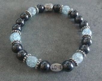 Bracelet énergétisé, well-being, Hematite and Crystal Crackle blue, Pearl, Love and zen Buddha