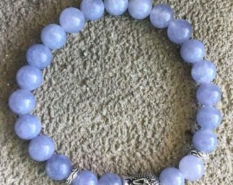 Energized by Angelite silver zen Buddha bracelet