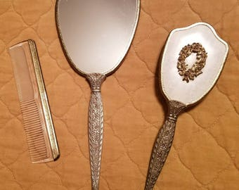 Ormate Vintage Vanity Mirror, Brush, and Comb Set