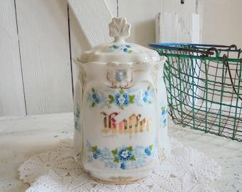 Storage jar coffee porcelain gold porcelain coffee Art Nouveau vintage