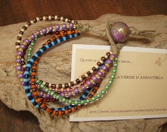 Bracelet made of linen and 7 rows of multicolored seed beads