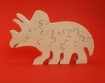wooden dinosaur: triceratops, decorative (7 p)