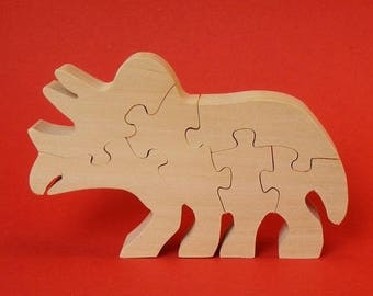 wooden dinosaur: triceratops, decorative object (6)