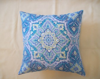 Indoor/Outdoor Decorative Tile Adobe Blue Throw Pillow 18x18