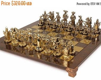 For Sale Knights Chess Set - Gold-Silver - Brown Board