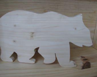 below flat wooden bear handmade by me