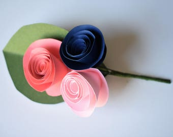 Wedding Boutonniere, Coral, Blush, and Navy Paper Flower Boutonniere