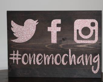 GLITTER Social Media Wedding Hashtag Sign - Custom Wooden Wedding Sign - Custom Hashtag Board