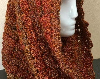 Burnt Orange Hooded Cowl, Fall Colors Scarf, Hooded Cowl, Autumn Cowl Scarf, Cowl Scarf, Crocheted Scarf, Circle Scarf, Gifts for Her