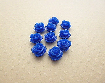 Set of 10 flowers in resin ultramarine blue 10mm - en-0623