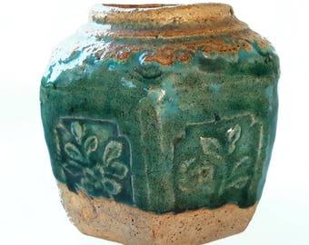 ANTIQUE GINGER JAR - blue green glazed Chinese stoneware pot, handmade Asian pottery artifact