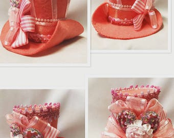 Peach and pink mini Mad hatter hat