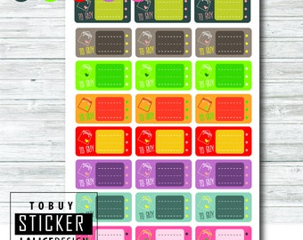 TO BUY / Shopping List printable colorful planner stickers