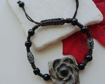 Agate rose, flower, bracelet, bracelets, woven