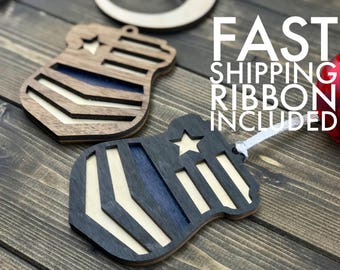 Police Ornament - Thin Blue Line - Police Gift - Law Enforcement Gift - Police Officer Gift - Blue Lives Matter - Sheriff Ornament