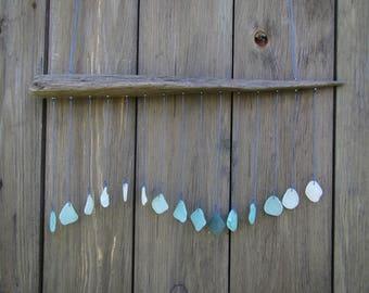 "Sea Glass Sun Catcher ""Triangle Wave"", Window Decor, Beach House Decor, Driftwood and Genuine Sea Glass Mobile, Driftwood Art Sculpture"