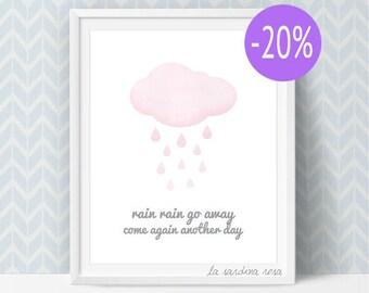 SALE Rain Cloud Print, Pink Nursery, Cloud Wall Art, watercolor Clouds, Printable, Girl Nursery art, Rain Rain go away  #0011P
