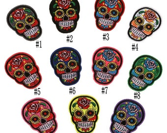 Free shipping  P138  10pc mixed skull Patches Embroidered Iron on Mixed Skull  applique embroidery