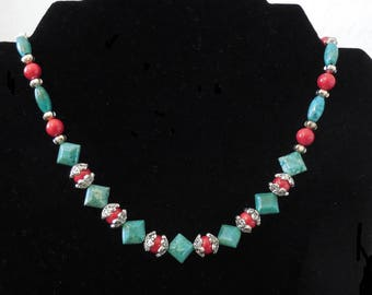 Gemstone Beaded Necklace - Turquoise, Coral and Silver  #211