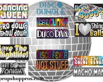 Disco 70's Photo Booth Props | Disco Signs | 70's Signs | Prop Signs