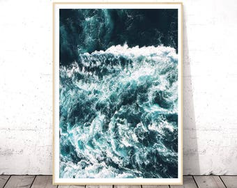 Ocean Poster Decor, Ocean Waves Photography, Ocean Photo, Sea Art, Large Modern Prints, Large Poster Printable Art, Ocean Waves Wall Art