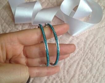 Hoop Earrings - Blue Hoop Earrings - Blue Earrings - Baby blue - Light Blue - Earrings - Vintage - Vintage Earrings - Large Hoop Earrings