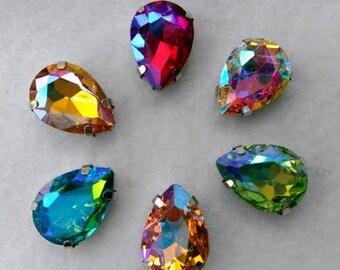 AB series 10x14mm 13x18mm Tear Drop Sew On Crystal in Silver Color Prong Setting Pear Shape FlatBack sew on rhinestone glass beads gemstone