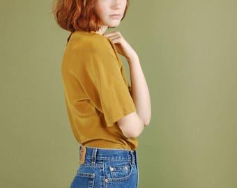 Vintage silk ochre blouse / Short sleeve yellow silk top / Boxy goldenrod silk shirt / Button back minimalist silk top / Silk tee shirt