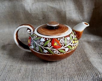 Stoneware teapot ceramic Rustic teapot rustic kitchen decor pottery teapot Wedding anniversary gift for parents of the bride gift Teapots
