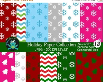 75% OFF SALE Christmas Digital Papers, Commercial Use, Snowflake Digital Papers, Chevron Zigzag,  Scrapbook Papers, Background - UZ814
