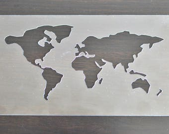 World map stencil etsy world map stencil world map small stencil craft map stencil 20x11cm plastic gumiabroncs Images
