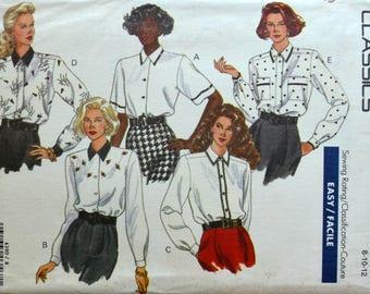 Uncut 1980s Butterick Vintage Sewing Pattern 4390, Size 8-10-12; Misses' Blouse