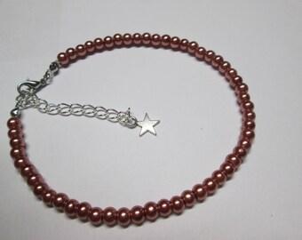 Brown satin glass beaded bracelet