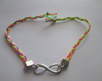 pretty bracelet neon multicolored yarn and sign the infinity