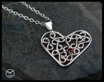 Heart pendant - Handmade Argentium Sterling silver filigree, with garnet. Chain length choice 14, 15, 16, 17, 18, 19, 20 in. 250