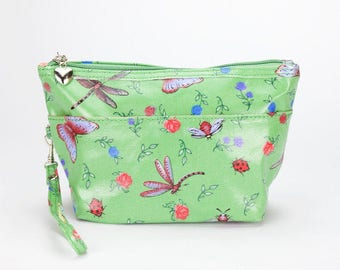 Medium Makeup bag- Oilcloth Cosmetic pouch- Oil cloth Makeup case- Ladies Beauty pouch Cosmetic Zipper bag Beauty purse- Dragonfly Butterfly