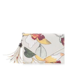 Small wallet women cards Oilcloth pocket wallet Compact purse, floral orchid mini vegan purse, Travel card wallet Ladies Teenage girl purse