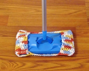 Red Blue Yellow Buttoned Crocheted Mop Cover Washable Dustmop Cover Reusable Mop Cover