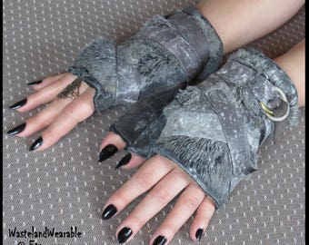 POST APOCALYPTIC Gloves, genuine leather, faux fur, fingerless