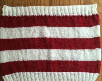 SALE Red and white striped cowl