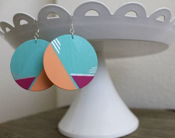 80's earrings - art deco earrings - statement earrings - fun earrings - unique earrings - colorful earrings - boho earrings - funky earrings
