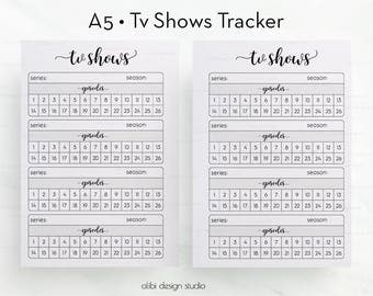 Tv Shows, TV Show Tracker, A5 Planner Inserts, Tv Tracker, A5, Tv Show Manager, Tv Shows Organizer, Printable Planner, A5 Insert, Tv Series