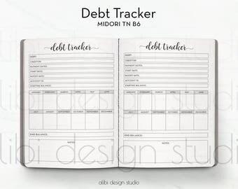 B6 TN, Debt Tracker, Travelers Notebook, Finance Planner, Debt Planner, Midori Inserts, Budget Planner, TN Inserts, Midori, TN Budget Insert