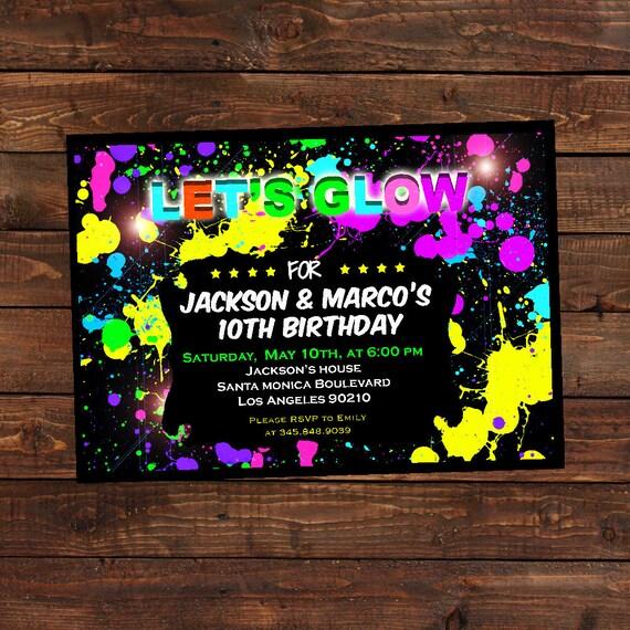 Glow in the dark invitations DIY Glow party invitations Glow in