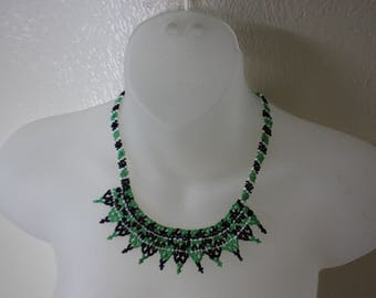 """Vintage Native American Art Style SEED BEAD NECKLACE Green Black Beaded Jewelry """"Seed Bead Necklace"""""""
